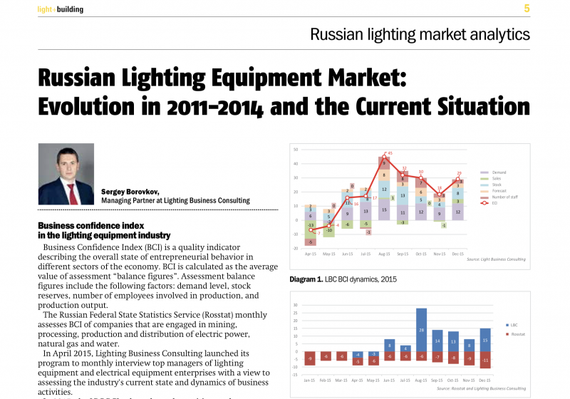 "Newspaper ""Business in Russia"" Article ""Russian Lighting Equipment market: evolution 2011-2014 and the current situation"". Language: English"